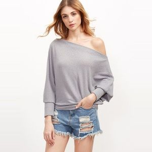 Off Shoulder Soft Stretchy Waffle Knit Sweater Top
